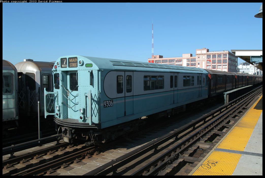 (195k, 1044x701)<br><b>Country:</b> United States<br><b>City:</b> New York<br><b>System:</b> New York City Transit<br><b>Line:</b> IRT Flushing Line<br><b>Location:</b> 33rd Street/Rawson Street <br><b>Route:</b> Fan Trip<br><b>Car:</b> R-33 World's Fair (St. Louis, 1963-64) 9306 <br><b>Photo by:</b> David Pirmann<br><b>Date:</b> 8/23/2003<br><b>Viewed (this week/total):</b> 0 / 1721