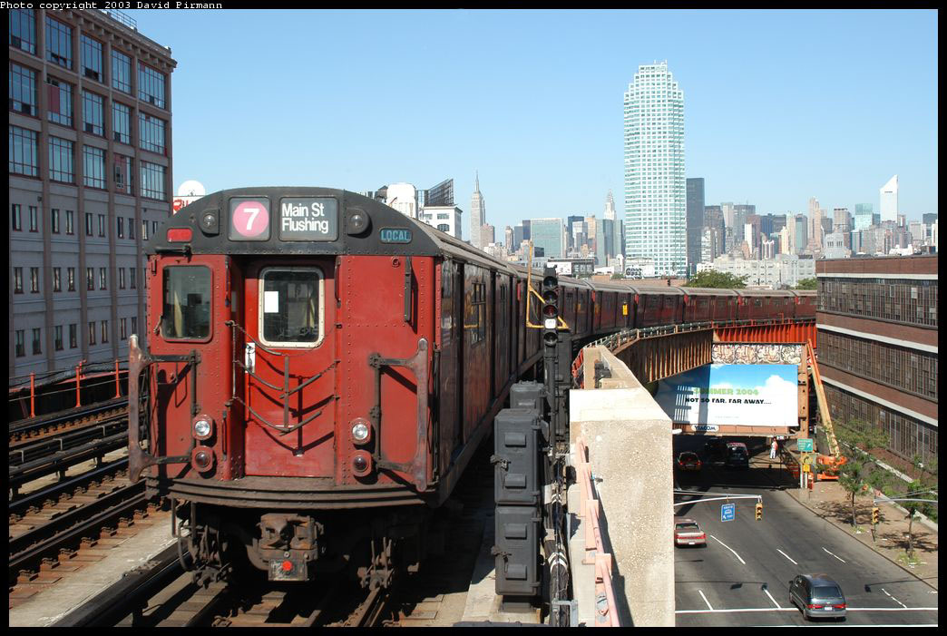 (232k, 1044x701)<br><b>Country:</b> United States<br><b>City:</b> New York<br><b>System:</b> New York City Transit<br><b>Line:</b> IRT Flushing Line<br><b>Location:</b> 33rd Street/Rawson Street <br><b>Route:</b> 7<br><b>Car:</b> R-36 World's Fair (St. Louis, 1963-64) 9613 <br><b>Photo by:</b> David Pirmann<br><b>Date:</b> 8/23/2003<br><b>Viewed (this week/total):</b> 1 / 4366