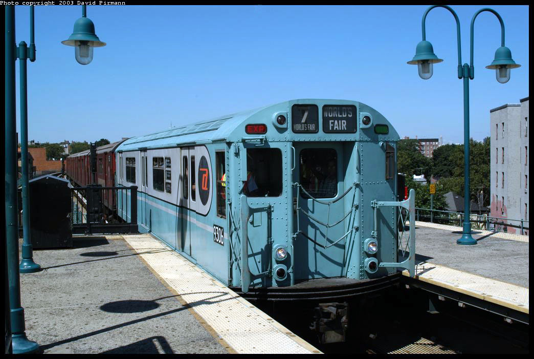 (214k, 1044x701)<br><b>Country:</b> United States<br><b>City:</b> New York<br><b>System:</b> New York City Transit<br><b>Line:</b> IRT Flushing Line<br><b>Location:</b> 61st Street/Woodside <br><b>Route:</b> Fan Trip<br><b>Car:</b> R-33 World's Fair (St. Louis, 1963-64) 9306 <br><b>Photo by:</b> David Pirmann<br><b>Date:</b> 8/23/2003<br><b>Viewed (this week/total):</b> 4 / 2161