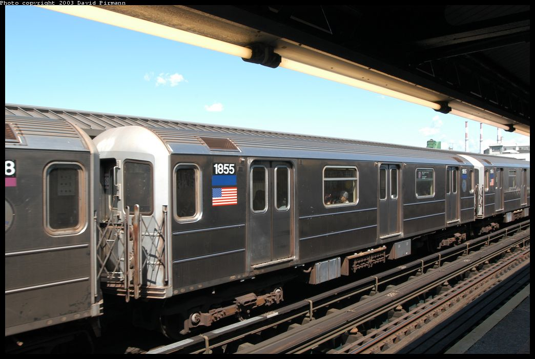 (156k, 1044x701)<br><b>Country:</b> United States<br><b>City:</b> New York<br><b>System:</b> New York City Transit<br><b>Line:</b> IRT Flushing Line<br><b>Location:</b> Court House Square/45th Road <br><b>Route:</b> 7<br><b>Car:</b> R-62A (Bombardier, 1984-1987)  1855 <br><b>Photo by:</b> David Pirmann<br><b>Date:</b> 8/23/2003<br><b>Viewed (this week/total):</b> 1 / 2336