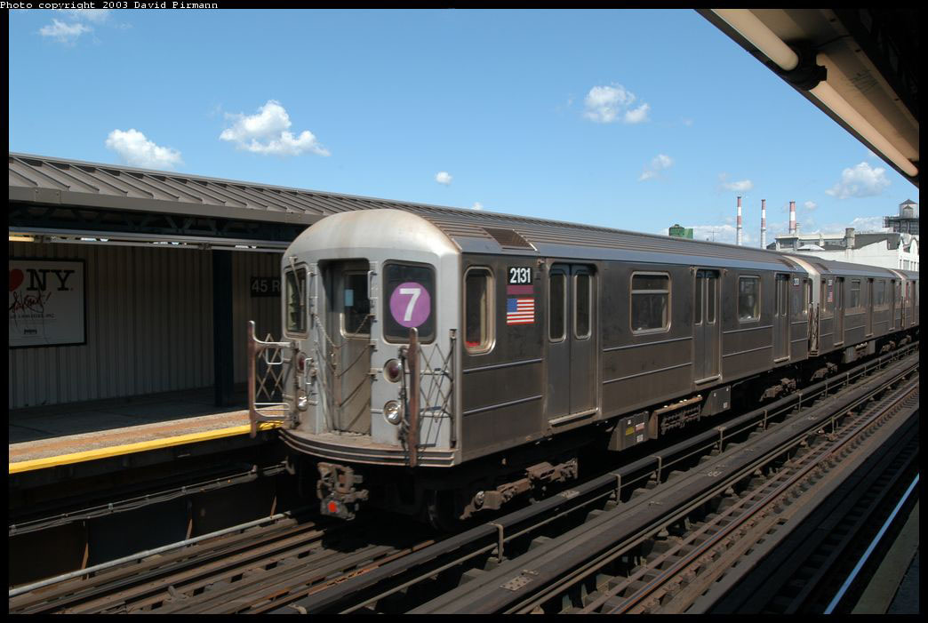 (190k, 1044x701)<br><b>Country:</b> United States<br><b>City:</b> New York<br><b>System:</b> New York City Transit<br><b>Line:</b> IRT Flushing Line<br><b>Location:</b> Court House Square/45th Road <br><b>Route:</b> 7<br><b>Car:</b> R-62A (Bombardier, 1984-1987)  2131 <br><b>Photo by:</b> David Pirmann<br><b>Date:</b> 8/23/2003<br><b>Viewed (this week/total):</b> 5 / 2228