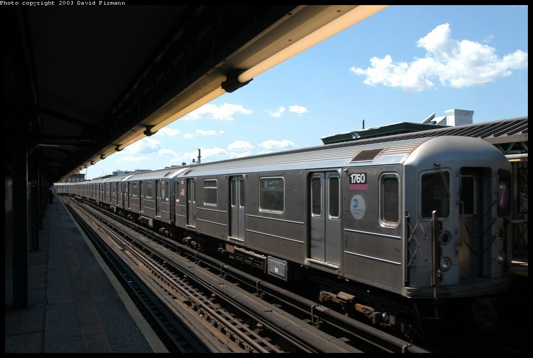 (145k, 1044x701)<br><b>Country:</b> United States<br><b>City:</b> New York<br><b>System:</b> New York City Transit<br><b>Line:</b> IRT Flushing Line<br><b>Location:</b> Court House Square/45th Road <br><b>Route:</b> 7<br><b>Car:</b> R-62A (Bombardier, 1984-1987)  1760 <br><b>Photo by:</b> David Pirmann<br><b>Date:</b> 8/23/2003<br><b>Viewed (this week/total):</b> 0 / 1767
