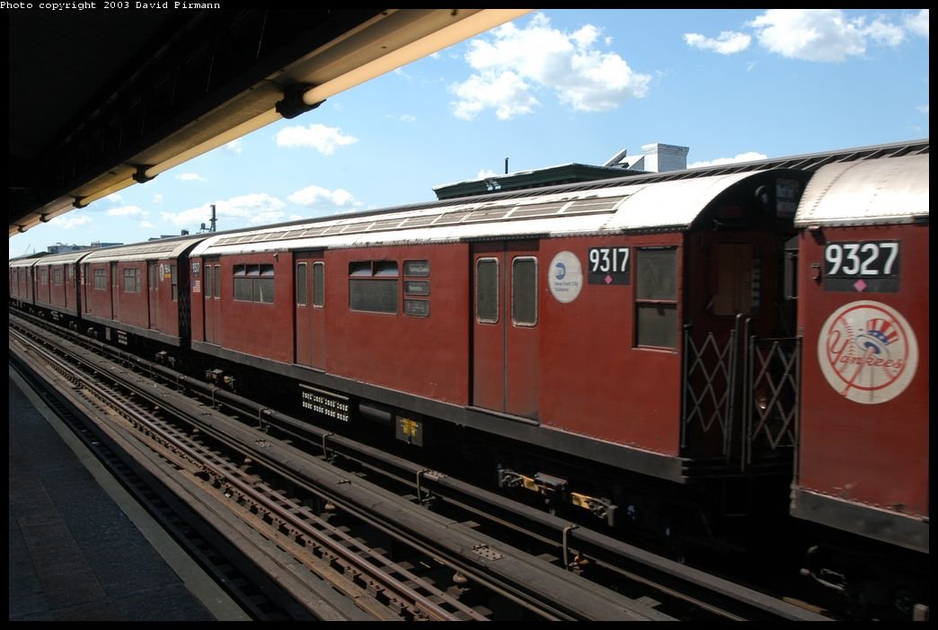 (162k, 1044x701)<br><b>Country:</b> United States<br><b>City:</b> New York<br><b>System:</b> New York City Transit<br><b>Line:</b> IRT Flushing Line<br><b>Location:</b> Court House Square/45th Road <br><b>Route:</b> Fan Trip<br><b>Car:</b> R-33 World's Fair (St. Louis, 1963-64) 9317 <br><b>Photo by:</b> David Pirmann<br><b>Date:</b> 8/23/2003<br><b>Viewed (this week/total):</b> 2 / 2157