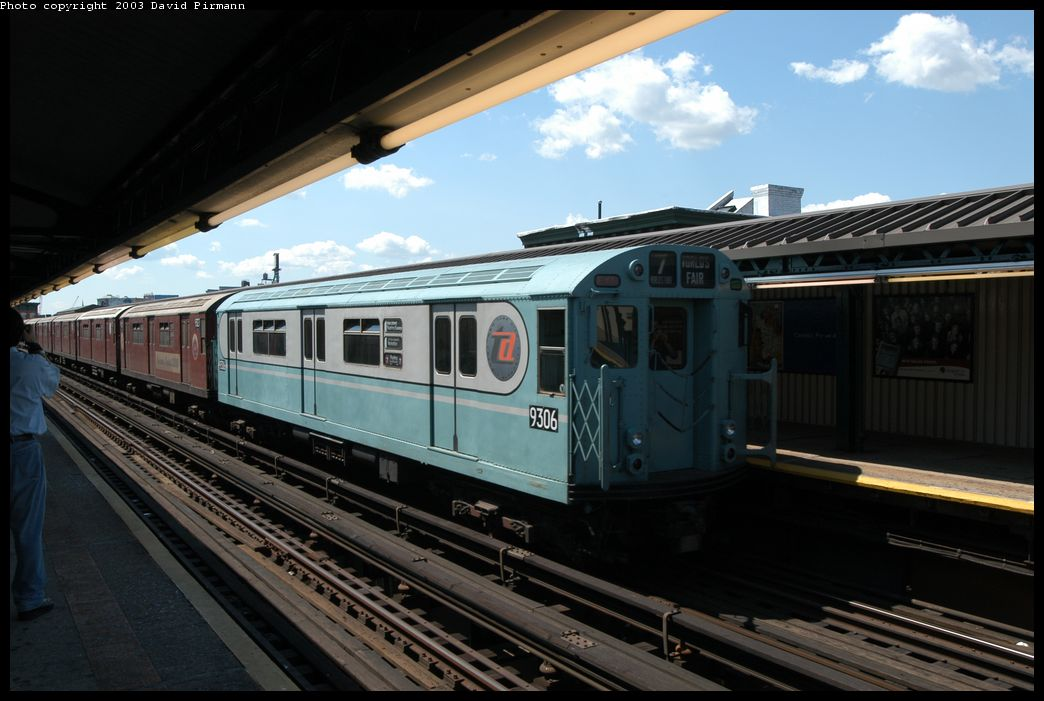 (161k, 1044x701)<br><b>Country:</b> United States<br><b>City:</b> New York<br><b>System:</b> New York City Transit<br><b>Line:</b> IRT Flushing Line<br><b>Location:</b> Court House Square/45th Road <br><b>Route:</b> Fan Trip<br><b>Car:</b> R-33 World's Fair (St. Louis, 1963-64) 9306 <br><b>Photo by:</b> David Pirmann<br><b>Date:</b> 8/23/2003<br><b>Viewed (this week/total):</b> 1 / 1967