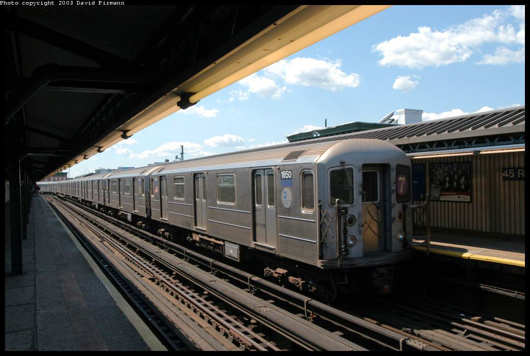(188k, 1044x701)<br><b>Country:</b> United States<br><b>City:</b> New York<br><b>System:</b> New York City Transit<br><b>Line:</b> IRT Flushing Line<br><b>Location:</b> Court House Square/45th Road <br><b>Route:</b> 7<br><b>Car:</b> R-62A (Bombardier, 1984-1987)  1850 <br><b>Photo by:</b> David Pirmann<br><b>Date:</b> 8/23/2003<br><b>Viewed (this week/total):</b> 0 / 2097