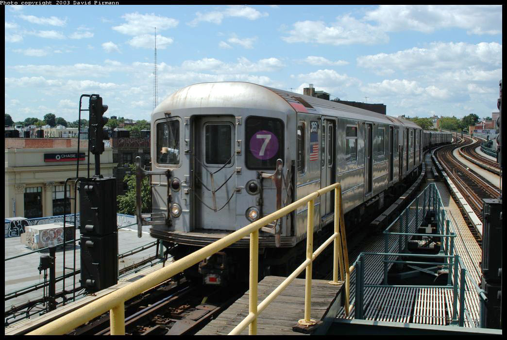 (224k, 1044x701)<br><b>Country:</b> United States<br><b>City:</b> New York<br><b>System:</b> New York City Transit<br><b>Line:</b> IRT Flushing Line<br><b>Location:</b> 61st Street/Woodside <br><b>Route:</b> 7<br><b>Car:</b> R-62A (Bombardier, 1984-1987)  1851 <br><b>Photo by:</b> David Pirmann<br><b>Date:</b> 8/23/2003<br><b>Viewed (this week/total):</b> 2 / 2633