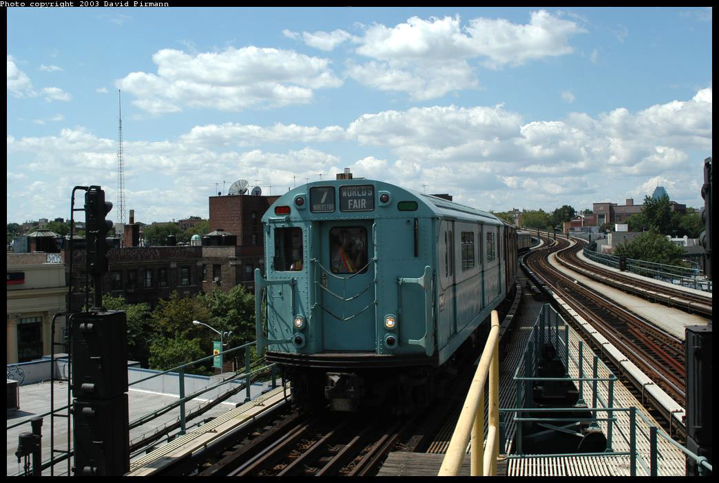(211k, 1044x701)<br><b>Country:</b> United States<br><b>City:</b> New York<br><b>System:</b> New York City Transit<br><b>Line:</b> IRT Flushing Line<br><b>Location:</b> 61st Street/Woodside <br><b>Route:</b> Fan Trip<br><b>Car:</b> R-33 World's Fair (St. Louis, 1963-64) 9306 <br><b>Photo by:</b> David Pirmann<br><b>Date:</b> 8/23/2003<br><b>Viewed (this week/total):</b> 3 / 2495