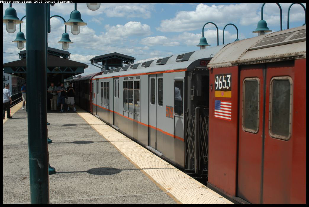 (199k, 1044x701)<br><b>Country:</b> United States<br><b>City:</b> New York<br><b>System:</b> New York City Transit<br><b>Line:</b> IRT Flushing Line<br><b>Location:</b> 61st Street/Woodside <br><b>Route:</b> Fan Trip<br><b>Car:</b> R-12 (American Car & Foundry, 1948) 5760 <br><b>Photo by:</b> David Pirmann<br><b>Date:</b> 8/23/2003<br><b>Viewed (this week/total):</b> 3 / 2784