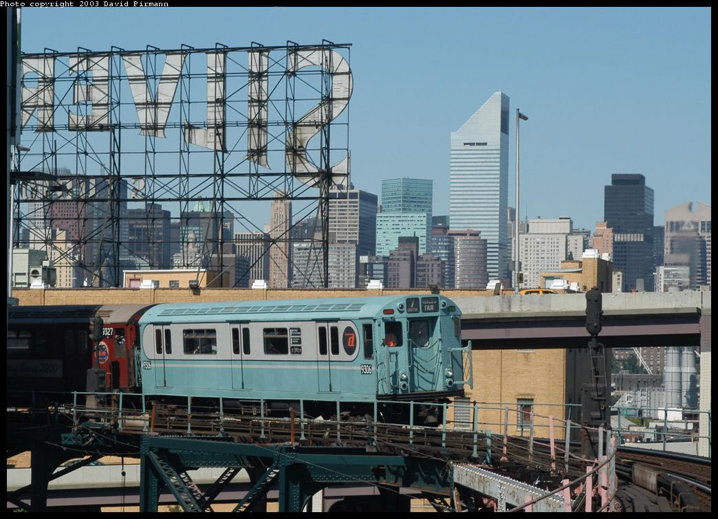(197k, 1044x755)<br><b>Country:</b> United States<br><b>City:</b> New York<br><b>System:</b> New York City Transit<br><b>Line:</b> IRT Flushing Line<br><b>Location:</b> Queensborough Plaza <br><b>Route:</b> Fan Trip<br><b>Car:</b> R-33 World's Fair (St. Louis, 1963-64) 9306 <br><b>Photo by:</b> David Pirmann<br><b>Date:</b> 8/23/2003<br><b>Viewed (this week/total):</b> 1 / 8447