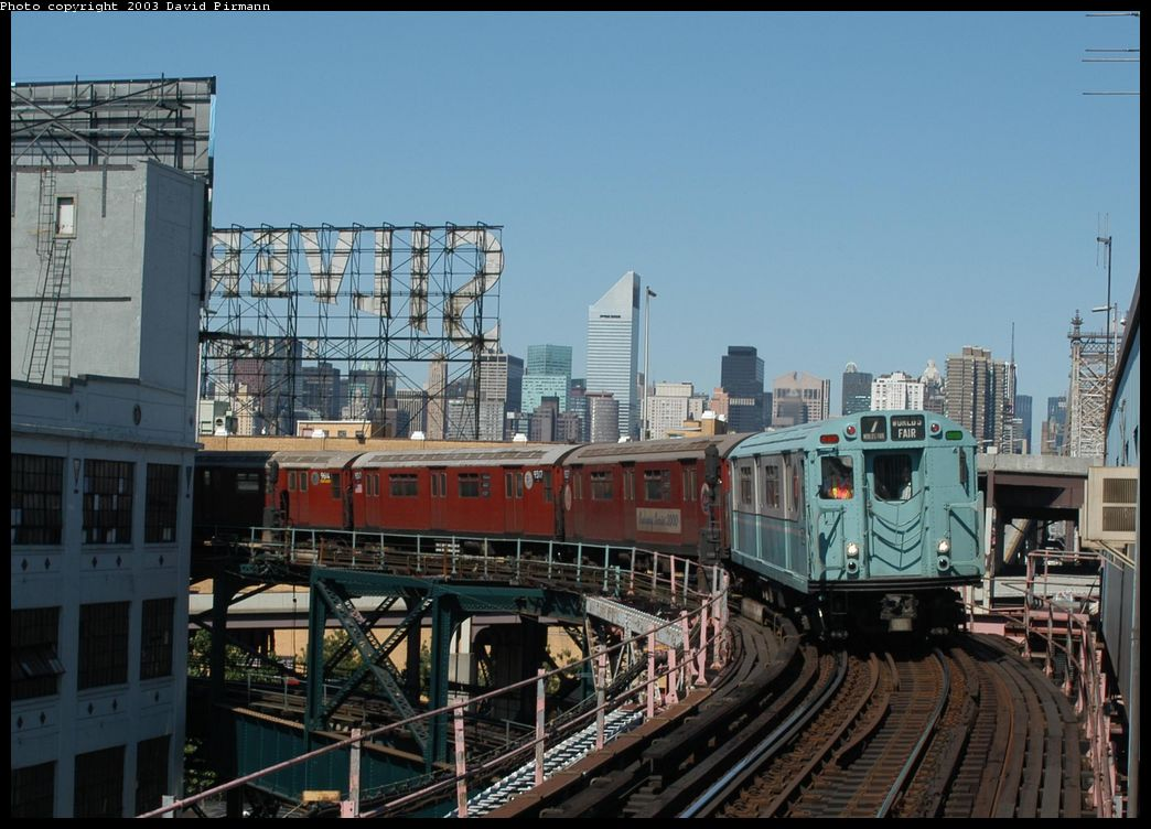 (134k, 1044x752)<br><b>Country:</b> United States<br><b>City:</b> New York<br><b>System:</b> New York City Transit<br><b>Line:</b> IRT Flushing Line<br><b>Location:</b> Queensborough Plaza <br><b>Route:</b> Fan Trip<br><b>Car:</b> R-33 World's Fair (St. Louis, 1963-64) 9306 <br><b>Photo by:</b> David Pirmann<br><b>Date:</b> 8/23/2003<br><b>Viewed (this week/total):</b> 9 / 2658