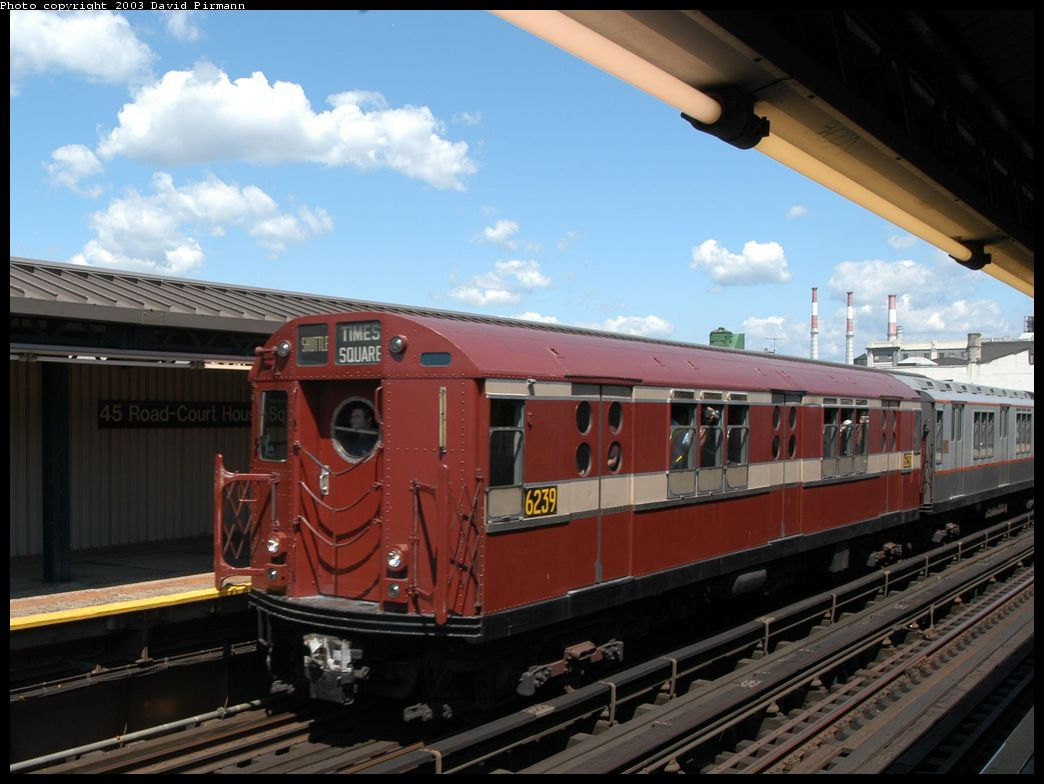 (112k, 1044x784)<br><b>Country:</b> United States<br><b>City:</b> New York<br><b>System:</b> New York City Transit<br><b>Line:</b> IRT Flushing Line<br><b>Location:</b> Court House Square/45th Road <br><b>Route:</b> Fan Trip<br><b>Car:</b> R-15 (American Car & Foundry, 1950) 6239 <br><b>Photo by:</b> David Pirmann<br><b>Date:</b> 8/23/2003<br><b>Viewed (this week/total):</b> 12 / 9350