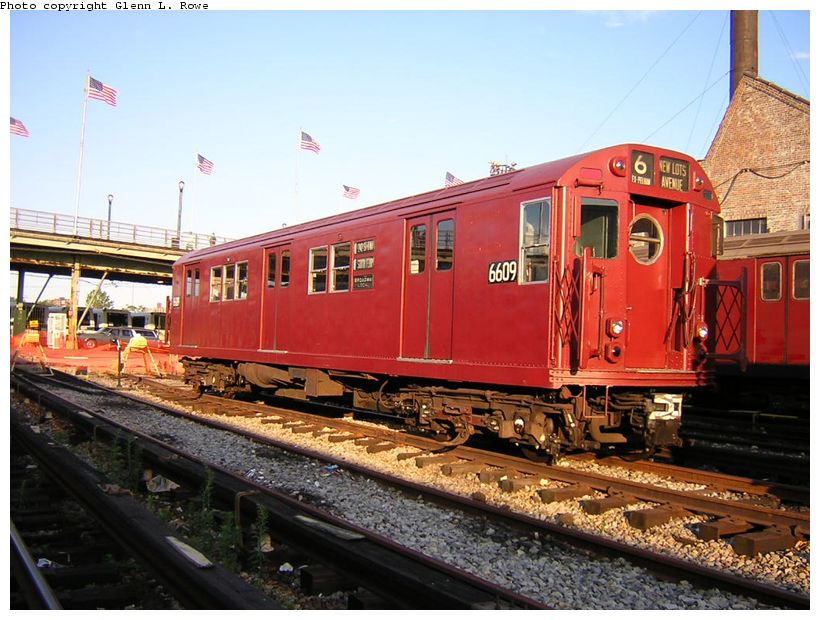 (136k, 820x620)<br><b>Country:</b> United States<br><b>City:</b> New York<br><b>System:</b> New York City Transit<br><b>Location:</b> Corona Yard<br><b>Car:</b> R-17 (St. Louis, 1955-56) 6609 <br><b>Photo by:</b> Glenn L. Rowe<br><b>Date:</b> 8/23/2003<br><b>Viewed (this week/total):</b> 0 / 8479