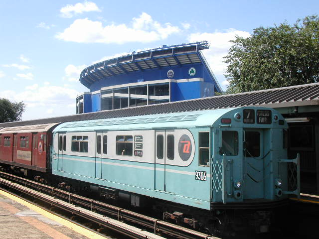 (68k, 640x480)<br><b>Country:</b> United States<br><b>City:</b> New York<br><b>System:</b> New York City Transit<br><b>Line:</b> IRT Flushing Line<br><b>Location:</b> Willets Point/Mets (fmr. Shea Stadium) <br><b>Route:</b> Fan Trip<br><b>Car:</b> R-33 World's Fair (St. Louis, 1963-64) 9306 <br><b>Photo by:</b> Carlton Walton<br><b>Date:</b> 8/23/2003<br><b>Viewed (this week/total):</b> 0 / 3122