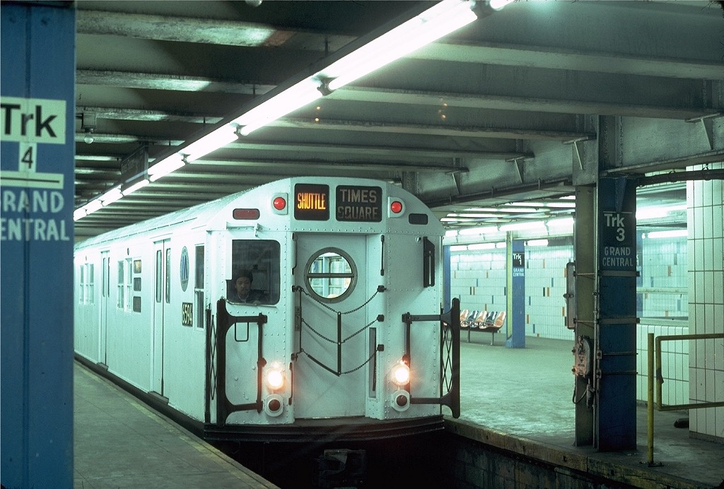 (200k, 1024x692)<br><b>Country:</b> United States<br><b>City:</b> New York<br><b>System:</b> New York City Transit<br><b>Line:</b> IRT Times Square-Grand Central Shuttle<br><b>Location:</b> Grand Central <br><b>Car:</b> R-17 (St. Louis, 1955-56) 6594 <br><b>Photo by:</b> Steve Zabel<br><b>Collection of:</b> Joe Testagrose<br><b>Date:</b> 2/16/1982<br><b>Viewed (this week/total):</b> 2 / 6015