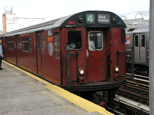 (66k, 640x480)<br><b>Country:</b> United States<br><b>City:</b> New York<br><b>System:</b> New York City Transit<br><b>Line:</b> IRT Woodlawn Line<br><b>Location:</b> 183rd Street <br><b>Route:</b> 4<br><b>Car:</b> R-33 Main Line (St. Louis, 1962-63) 8841 <br><b>Photo by:</b> Carlton Walton<br><b>Date:</b> 2001<br><b>Viewed (this week/total):</b> 0 / 5157