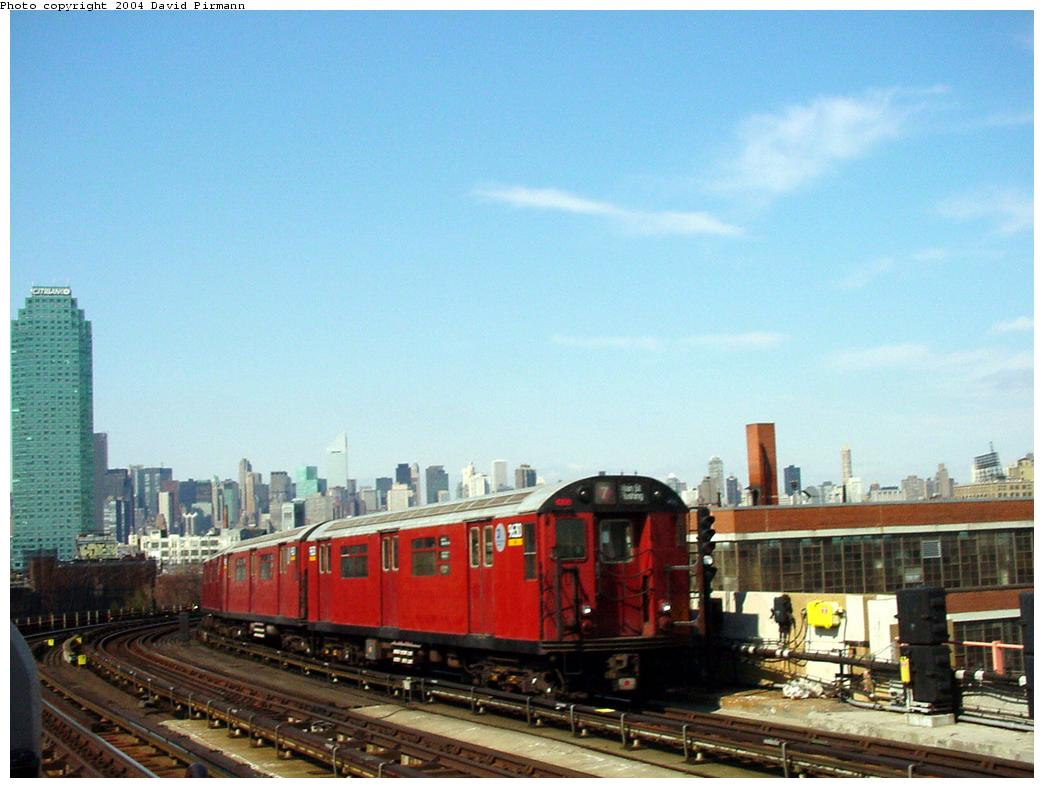 (105k, 1044x788)<br><b>Country:</b> United States<br><b>City:</b> New York<br><b>System:</b> New York City Transit<br><b>Line:</b> IRT Flushing Line<br><b>Location:</b> 33rd Street/Rawson Street <br><b>Route:</b> 7<br><b>Car:</b> R-36 World's Fair (St. Louis, 1963-64) 9630 <br><b>Photo by:</b> David Pirmann<br><b>Date:</b> 3/10/2001<br><b>Viewed (this week/total):</b> 3 / 3039