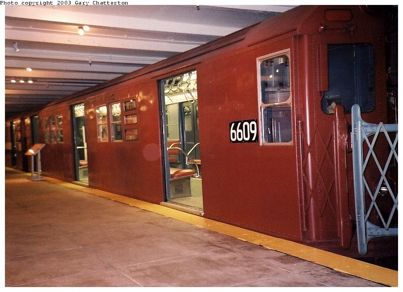 (101k, 815x591)<br><b>Country:</b> United States<br><b>City:</b> New York<br><b>System:</b> New York City Transit<br><b>Location:</b> New York Transit Museum<br><b>Car:</b> R-17 (St. Louis, 1955-56) 6609 <br><b>Photo by:</b> Gary Chatterton<br><b>Date:</b> 9/13/2003<br><b>Viewed (this week/total):</b> 1 / 4558