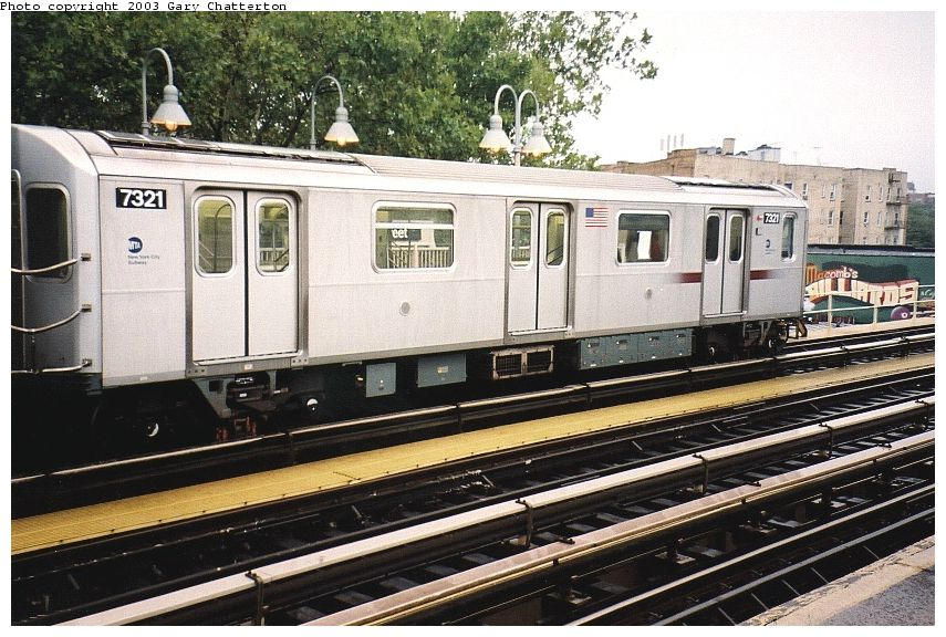 (121k, 855x576)<br><b>Country:</b> United States<br><b>City:</b> New York<br><b>System:</b> New York City Transit<br><b>Line:</b> IRT Woodlawn Line<br><b>Location:</b> 170th Street <br><b>Route:</b> 4<br><b>Car:</b> R-142A (Primary Order, Kawasaki, 1999-2002)  7321 <br><b>Photo by:</b> Gary Chatterton<br><b>Date:</b> 9/13/2003<br><b>Viewed (this week/total):</b> 2 / 4755