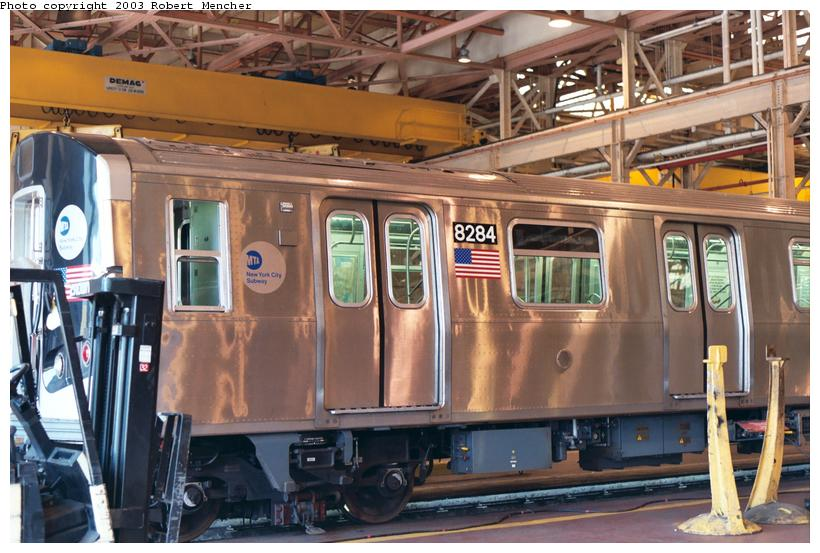 (116k, 820x553)<br><b>Country:</b> United States<br><b>City:</b> New York<br><b>System:</b> New York City Transit<br><b>Location:</b> Coney Island Shop/Overhaul & Repair Shop<br><b>Car:</b> R-143 (Kawasaki, 2001-2002) 8284 <br><b>Photo by:</b> Robert Mencher<br><b>Date:</b> 8/2003<br><b>Viewed (this week/total):</b> 1 / 4473