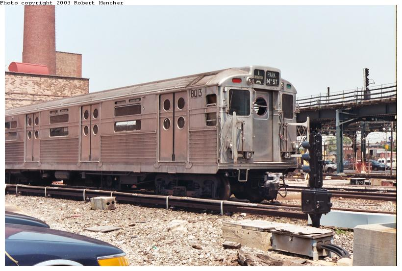(107k, 820x553)<br><b>Country:</b> United States<br><b>City:</b> New York<br><b>System:</b> New York City Transit<br><b>Location:</b> Coney Island Yard-Museum Yard<br><b>Car:</b> R-11 (Budd, 1949) 8013 <br><b>Photo by:</b> Robert Mencher<br><b>Date:</b> 8/2003<br><b>Viewed (this week/total):</b> 2 / 9290