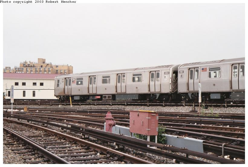 (90k, 820x553)<br><b>Country:</b> United States<br><b>City:</b> New York<br><b>System:</b> New York City Transit<br><b>Location:</b> Rockaway Parkway (Canarsie) Yard<br><b>Car:</b> R-143 (Kawasaki, 2001-2002) 8184 <br><b>Photo by:</b> Robert Mencher<br><b>Date:</b> 8/2003<br><b>Viewed (this week/total):</b> 1 / 4624