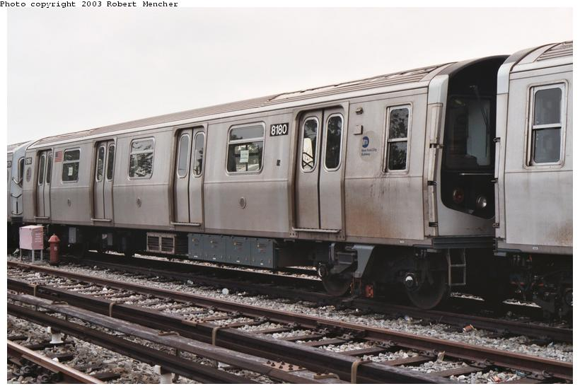(91k, 820x553)<br><b>Country:</b> United States<br><b>City:</b> New York<br><b>System:</b> New York City Transit<br><b>Location:</b> Rockaway Parkway (Canarsie) Yard<br><b>Car:</b> R-143 (Kawasaki, 2001-2002) 8180 <br><b>Photo by:</b> Robert Mencher<br><b>Date:</b> 8/2003<br><b>Viewed (this week/total):</b> 2 / 4965