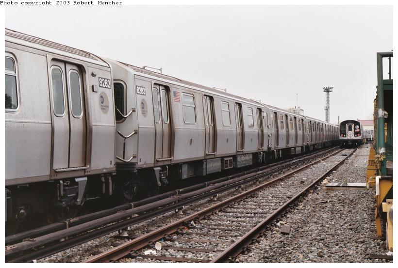 (98k, 820x553)<br><b>Country:</b> United States<br><b>City:</b> New York<br><b>System:</b> New York City Transit<br><b>Location:</b> Rockaway Parkway (Canarsie) Yard<br><b>Car:</b> R-143 (Kawasaki, 2001-2002) 8283 <br><b>Photo by:</b> Robert Mencher<br><b>Date:</b> 8/2003<br><b>Viewed (this week/total):</b> 2 / 3868