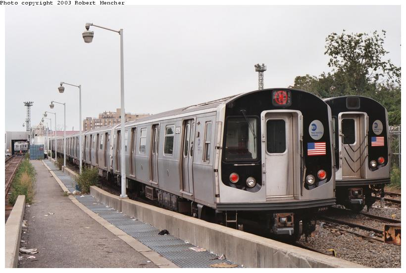 (92k, 820x553)<br><b>Country:</b> United States<br><b>City:</b> New York<br><b>System:</b> New York City Transit<br><b>Location:</b> Rockaway Parkway (Canarsie) Yard<br><b>Car:</b> R-143 (Kawasaki, 2001-2002) 8209 <br><b>Photo by:</b> Robert Mencher<br><b>Date:</b> 8/2003<br><b>Viewed (this week/total):</b> 2 / 5972