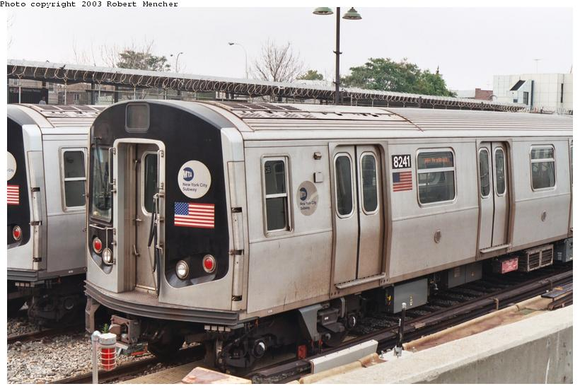 (102k, 820x553)<br><b>Country:</b> United States<br><b>City:</b> New York<br><b>System:</b> New York City Transit<br><b>Location:</b> Rockaway Parkway (Canarsie) Yard<br><b>Car:</b> R-143 (Kawasaki, 2001-2002) 8241 <br><b>Photo by:</b> Robert Mencher<br><b>Date:</b> 8/2003<br><b>Viewed (this week/total):</b> 6 / 4460