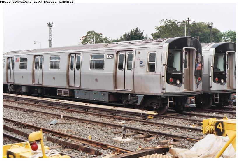 (115k, 820x553)<br><b>Country:</b> United States<br><b>City:</b> New York<br><b>System:</b> New York City Transit<br><b>Location:</b> Rockaway Parkway (Canarsie) Yard<br><b>Car:</b> R-143 (Kawasaki, 2001-2002) 8224 <br><b>Photo by:</b> Robert Mencher<br><b>Date:</b> 8/2003<br><b>Viewed (this week/total):</b> 0 / 3390