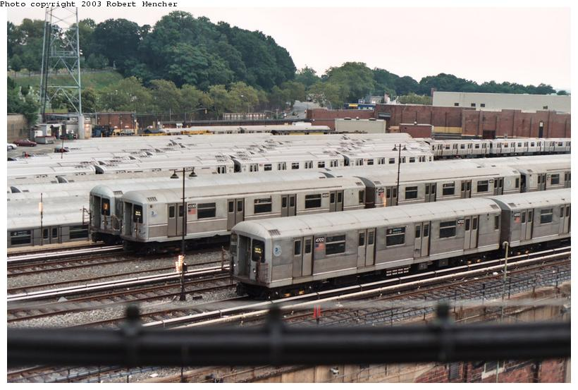 (110k, 820x553)<br><b>Country:</b> United States<br><b>City:</b> New York<br><b>System:</b> New York City Transit<br><b>Location:</b> East New York Yard/Shops<br><b>Car:</b> R-42 (St. Louis, 1969-1970)  4702 <br><b>Photo by:</b> Robert Mencher<br><b>Date:</b> 9/2003<br><b>Viewed (this week/total):</b> 3 / 4209