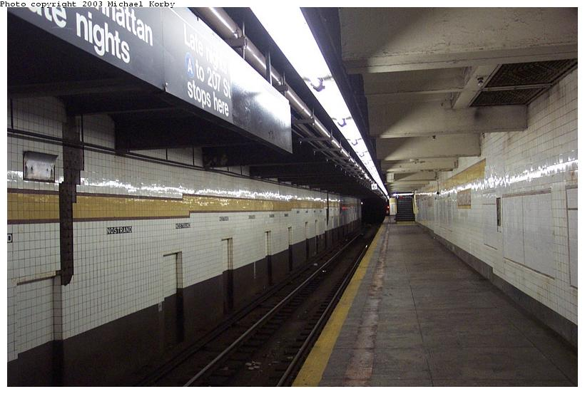 (80k, 820x553)<br><b>Country:</b> United States<br><b>City:</b> New York<br><b>System:</b> New York City Transit<br><b>Line:</b> IND Fulton Street Line<br><b>Location:</b> Nostrand Avenue <br><b>Photo by:</b> Michael Korby<br><b>Date:</b> 11/4/2002<br><b>Notes:</b> Lower level.<br><b>Viewed (this week/total):</b> 2 / 3890