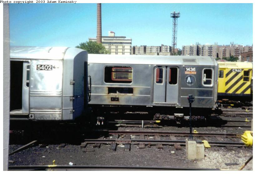 (64k, 820x558)<br><b>Country:</b> United States<br><b>City:</b> New York<br><b>System:</b> New York City Transit<br><b>Location:</b> 207th Street Yard<br><b>Car:</b> R-62 (Kawasaki, 1983-1985)  1436 <br><b>Photo by:</b> Adam Kaminsky<br><b>Date:</b> 8/24/2003<br><b>Viewed (this week/total):</b> 3 / 16760