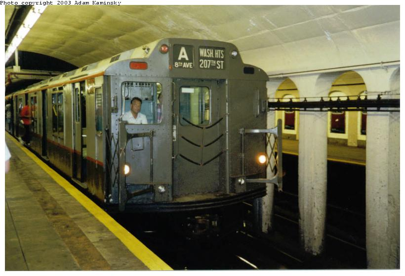 (60k, 820x558)<br><b>Country:</b> United States<br><b>City:</b> New York<br><b>System:</b> New York City Transit<br><b>Line:</b> IND 8th Avenue Line<br><b>Location:</b> 190th Street/Overlook Terrace <br><b>Route:</b> Fan Trip<br><b>Car:</b> R-7A (Pullman, 1938)  1575 <br><b>Photo by:</b> Adam Kaminsky<br><b>Date:</b> 8/24/2003<br><b>Viewed (this week/total):</b> 3 / 4729