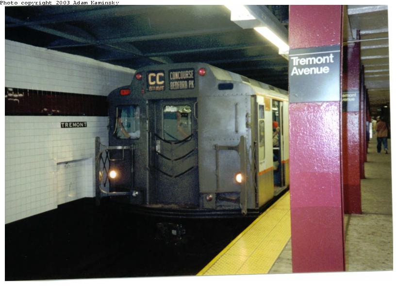 (59k, 820x589)<br><b>Country:</b> United States<br><b>City:</b> New York<br><b>System:</b> New York City Transit<br><b>Line:</b> IND Concourse Line<br><b>Location:</b> Tremont Avenue <br><b>Route:</b> Fan Trip<br><b>Car:</b> R-7A (Pullman, 1938)  1575 <br><b>Photo by:</b> Adam Kaminsky<br><b>Date:</b> 8/24/2003<br><b>Viewed (this week/total):</b> 5 / 4051