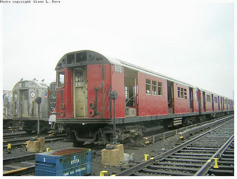 (120k, 820x620)<br><b>Country:</b> United States<br><b>City:</b> New York<br><b>System:</b> New York City Transit<br><b>Location:</b> 207th Street Yard<br><b>Car:</b> R-33 Main Line (St. Louis, 1962-63) 9173 <br><b>Photo by:</b> Glenn L. Rowe<br><b>Date:</b> 5/8/2003<br><b>Viewed (this week/total):</b> 0 / 3530
