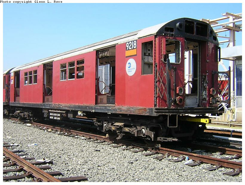 (169k, 820x620)<br><b>Country:</b> United States<br><b>City:</b> New York<br><b>System:</b> New York City Transit<br><b>Location:</b> 207th Street Yard<br><b>Car:</b> R-33 Main Line (St. Louis, 1962-63) 9218 <br><b>Photo by:</b> Glenn L. Rowe<br><b>Date:</b> 5/7/2003<br><b>Viewed (this week/total):</b> 1 / 3044