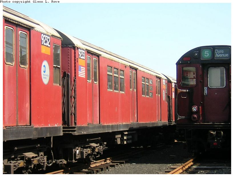 (116k, 820x620)<br><b>Country:</b> United States<br><b>City:</b> New York<br><b>System:</b> New York City Transit<br><b>Location:</b> 207th Street Yard<br><b>Car:</b> R-33 Main Line (St. Louis, 1962-63) 9233 <br><b>Photo by:</b> Glenn L. Rowe<br><b>Date:</b> 5/7/2003<br><b>Viewed (this week/total):</b> 0 / 3719