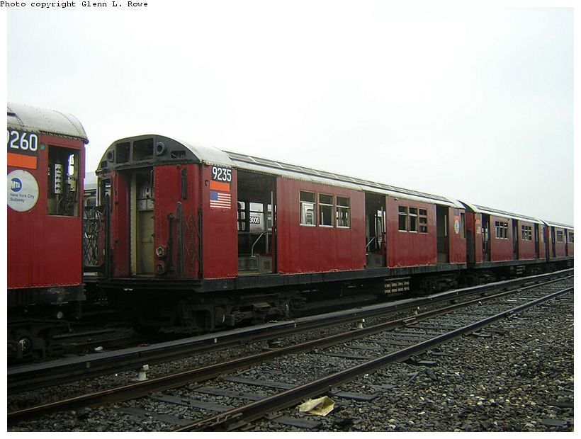 (117k, 820x620)<br><b>Country:</b> United States<br><b>City:</b> New York<br><b>System:</b> New York City Transit<br><b>Location:</b> 207th Street Yard<br><b>Car:</b> R-33 Main Line (St. Louis, 1962-63) 9235 <br><b>Photo by:</b> Glenn L. Rowe<br><b>Date:</b> 5/8/2003<br><b>Viewed (this week/total):</b> 2 / 3401