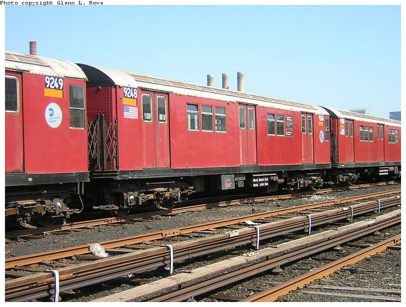 (155k, 820x620)<br><b>Country:</b> United States<br><b>City:</b> New York<br><b>System:</b> New York City Transit<br><b>Location:</b> 207th Street Yard<br><b>Car:</b> R-33 Main Line (St. Louis, 1962-63) 9248 <br><b>Photo by:</b> Glenn L. Rowe<br><b>Date:</b> 5/7/2003<br><b>Viewed (this week/total):</b> 0 / 3485