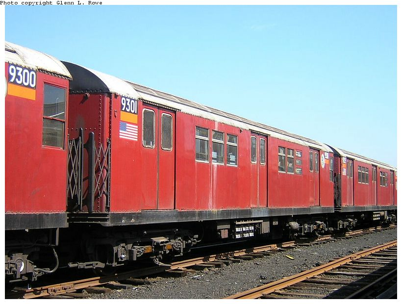 (130k, 820x620)<br><b>Country:</b> United States<br><b>City:</b> New York<br><b>System:</b> New York City Transit<br><b>Location:</b> 207th Street Yard<br><b>Car:</b> R-33 Main Line (St. Louis, 1962-63) 9301 <br><b>Photo by:</b> Glenn L. Rowe<br><b>Date:</b> 5/7/2003<br><b>Viewed (this week/total):</b> 2 / 3427