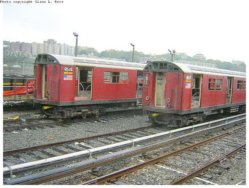 (154k, 820x620)<br><b>Country:</b> United States<br><b>City:</b> New York<br><b>System:</b> New York City Transit<br><b>Location:</b> 207th Street Yard<br><b>Car:</b> R-36 World's Fair (St. Louis, 1963-64) 9574 <br><b>Photo by:</b> Glenn L. Rowe<br><b>Date:</b> 10/27/2003<br><b>Viewed (this week/total):</b> 1 / 3022