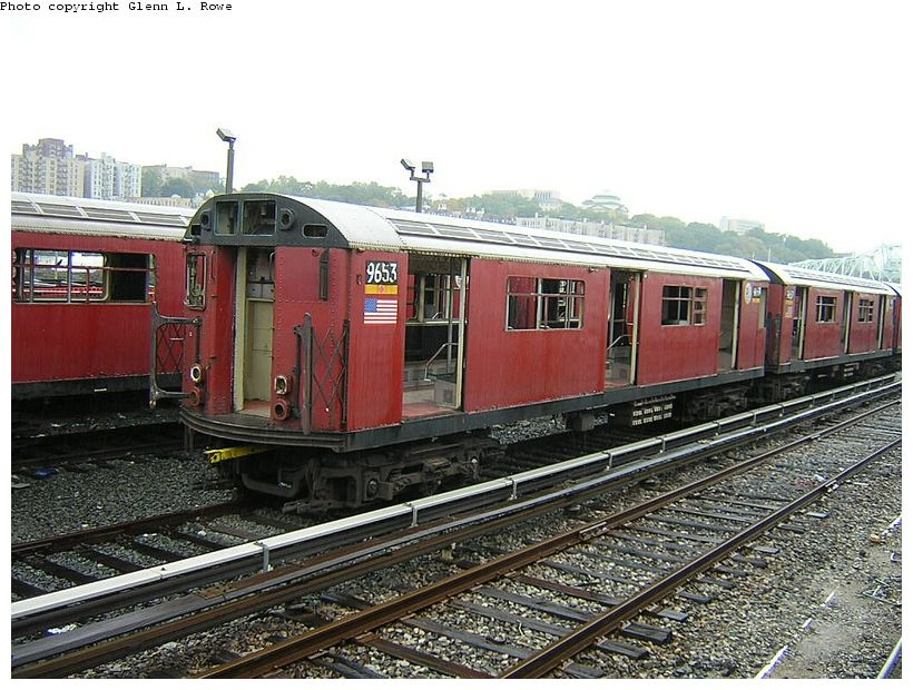 (152k, 820x620)<br><b>Country:</b> United States<br><b>City:</b> New York<br><b>System:</b> New York City Transit<br><b>Location:</b> 207th Street Yard<br><b>Car:</b> R-36 World's Fair (St. Louis, 1963-64) 9653 <br><b>Photo by:</b> Glenn L. Rowe<br><b>Date:</b> 10/27/2003<br><b>Viewed (this week/total):</b> 0 / 3874