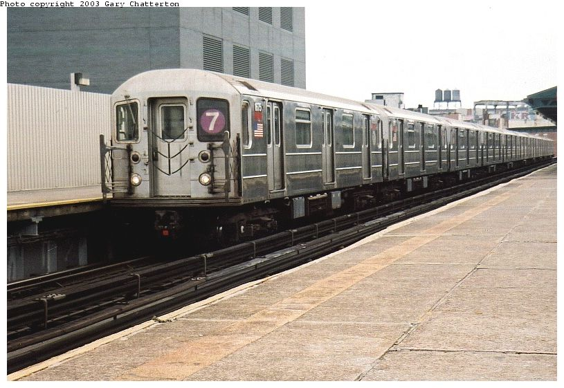 (100k, 815x561)<br><b>Country:</b> United States<br><b>City:</b> New York<br><b>System:</b> New York City Transit<br><b>Line:</b> IRT Flushing Line<br><b>Location:</b> Court House Square/45th Road <br><b>Route:</b> 7<br><b>Car:</b> R-62A (Bombardier, 1984-1987)  1675 <br><b>Photo by:</b> Gary Chatterton<br><b>Date:</b> 10/8/2003<br><b>Viewed (this week/total):</b> 3 / 3016