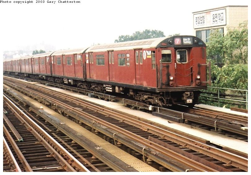 (109k, 810x566)<br><b>Country:</b> United States<br><b>City:</b> New York<br><b>System:</b> New York City Transit<br><b>Line:</b> IRT Flushing Line<br><b>Location:</b> 74th Street/Broadway <br><b>Route:</b> 7<br><b>Car:</b> R-36 World's Fair (St. Louis, 1963-64) 9669 <br><b>Photo by:</b> Gary Chatterton<br><b>Date:</b> 10/8/2003<br><b>Viewed (this week/total):</b> 0 / 2375