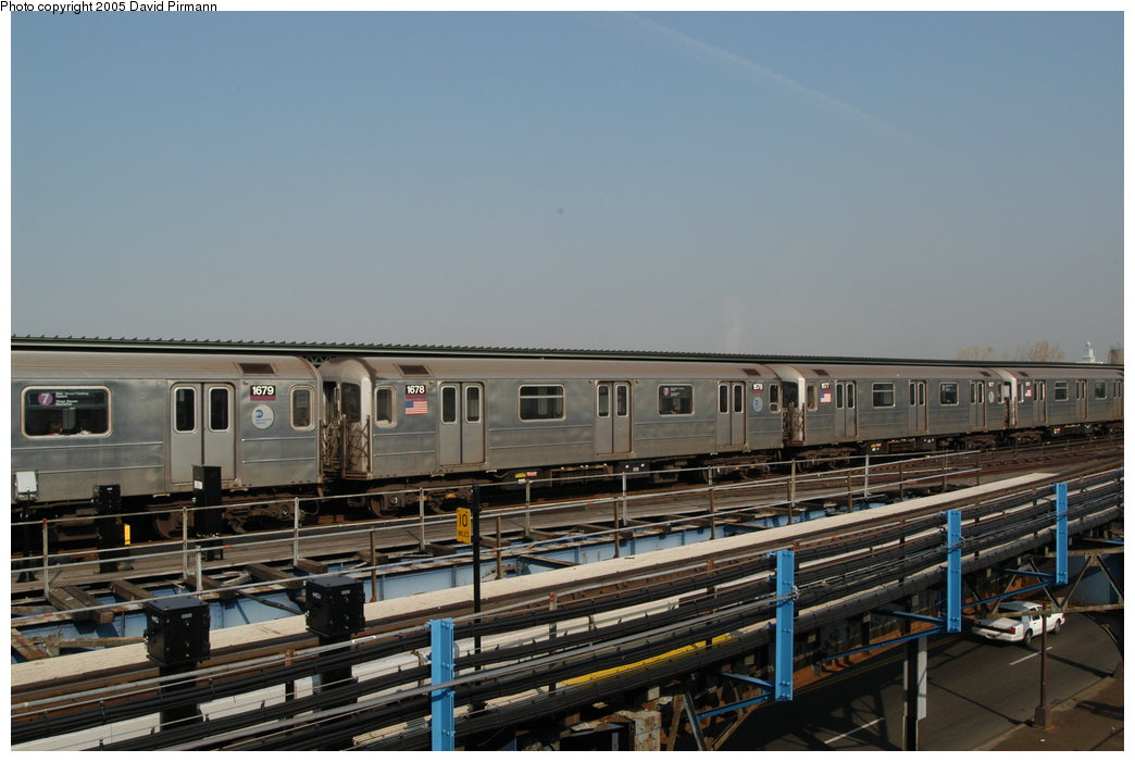 (183k, 1044x701)<br><b>Country:</b> United States<br><b>City:</b> New York<br><b>System:</b> New York City Transit<br><b>Line:</b> IRT Flushing Line<br><b>Location:</b> Willets Point/Mets (fmr. Shea Stadium) <br><b>Route:</b> 7<br><b>Car:</b> R-62A (Bombardier, 1984-1987)  1678 <br><b>Photo by:</b> David Pirmann<br><b>Date:</b> 11/3/2003<br><b>Viewed (this week/total):</b> 1 / 2978