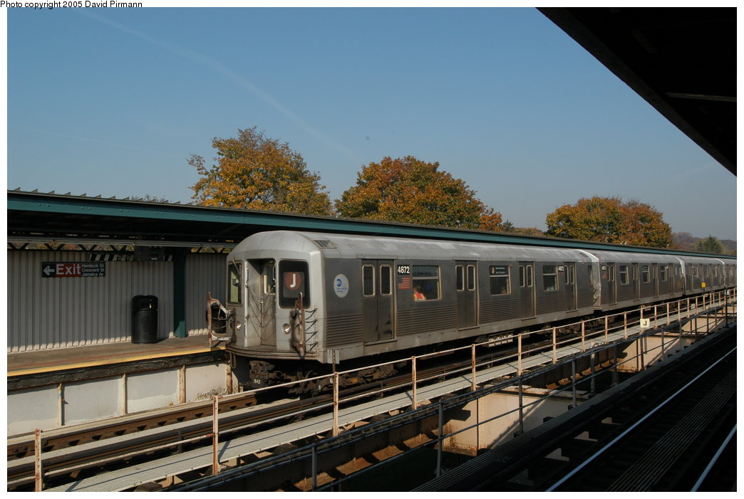(196k, 1044x701)<br><b>Country:</b> United States<br><b>City:</b> New York<br><b>System:</b> New York City Transit<br><b>Line:</b> BMT Nassau Street/Jamaica Line<br><b>Location:</b> Cypress Hills <br><b>Route:</b> J<br><b>Car:</b> R-42 (St. Louis, 1969-1970)  4872 <br><b>Photo by:</b> David Pirmann<br><b>Date:</b> 11/3/2003<br><b>Viewed (this week/total):</b> 3 / 2646