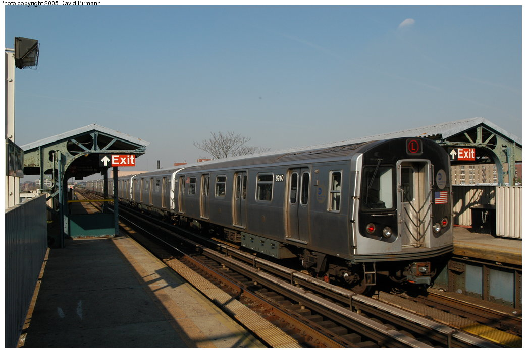 (180k, 1044x701)<br><b>Country:</b> United States<br><b>City:</b> New York<br><b>System:</b> New York City Transit<br><b>Line:</b> BMT Canarsie Line<br><b>Location:</b> Livonia Avenue <br><b>Route:</b> L<br><b>Car:</b> R-143 (Kawasaki, 2001-2002) 8240 <br><b>Photo by:</b> David Pirmann<br><b>Date:</b> 11/3/2003<br><b>Viewed (this week/total):</b> 2 / 15551