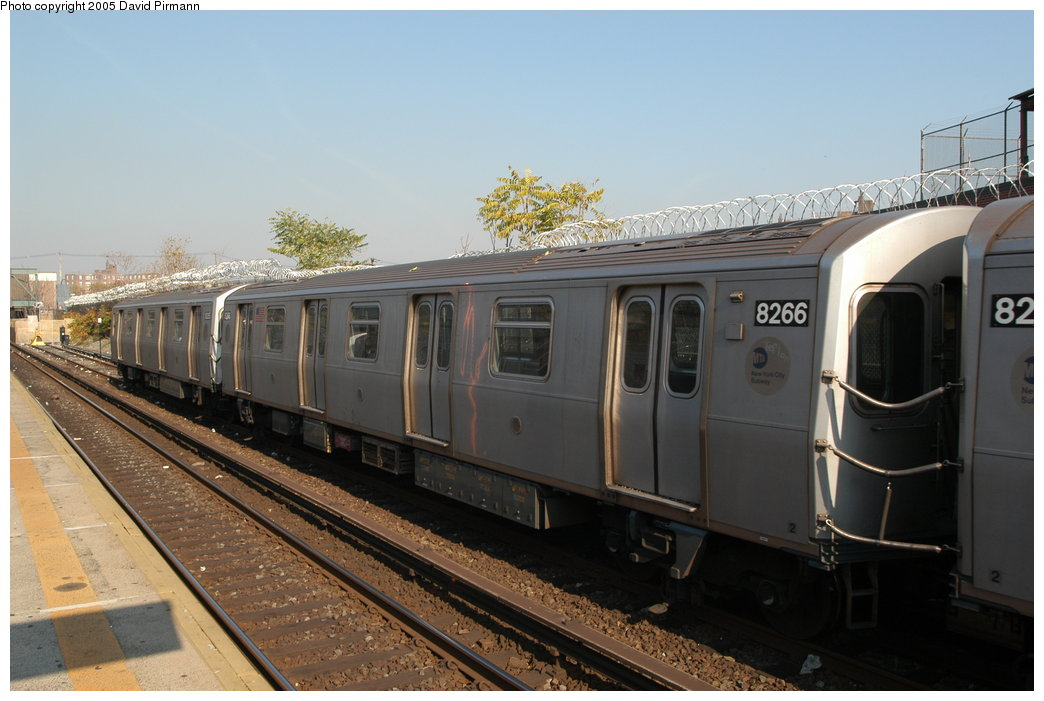(184k, 1044x701)<br><b>Country:</b> United States<br><b>City:</b> New York<br><b>System:</b> New York City Transit<br><b>Line:</b> BMT Canarsie Line<br><b>Location:</b> East 105th Street <br><b>Route:</b> L<br><b>Car:</b> R-143 (Kawasaki, 2001-2002) 8266 <br><b>Photo by:</b> David Pirmann<br><b>Date:</b> 11/3/2003<br><b>Viewed (this week/total):</b> 1 / 4462