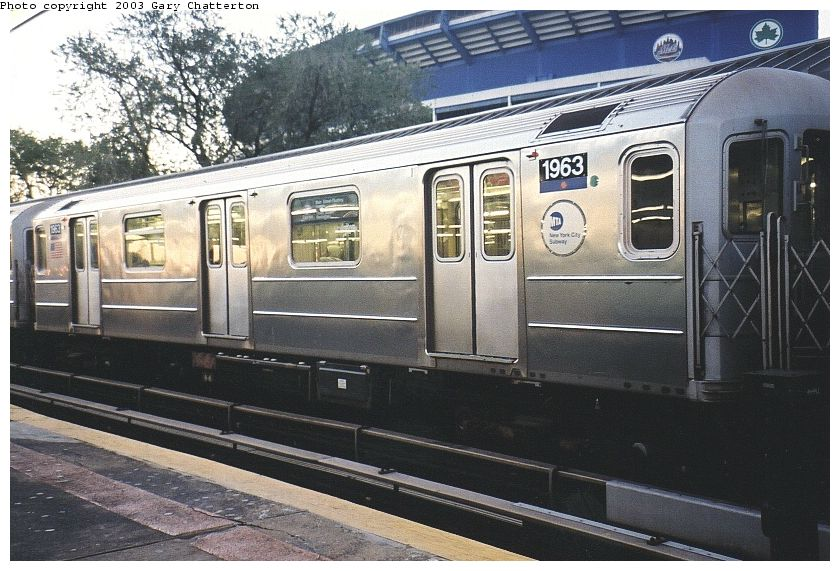 (108k, 840x571)<br><b>Country:</b> United States<br><b>City:</b> New York<br><b>System:</b> New York City Transit<br><b>Line:</b> IRT Flushing Line<br><b>Location:</b> Willets Point/Mets (fmr. Shea Stadium) <br><b>Route:</b> 7<br><b>Car:</b> R-62A (Bombardier, 1984-1987)  1963 <br><b>Photo by:</b> Gary Chatterton<br><b>Date:</b> 10/24/2003<br><b>Viewed (this week/total):</b> 1 / 2538